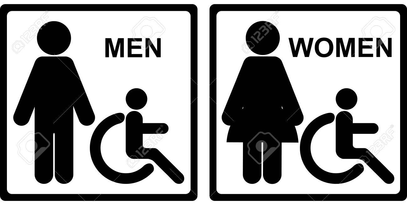 Black Square Toilet Or Restroom With Men Women And Handicap Sign Isolated On White Background