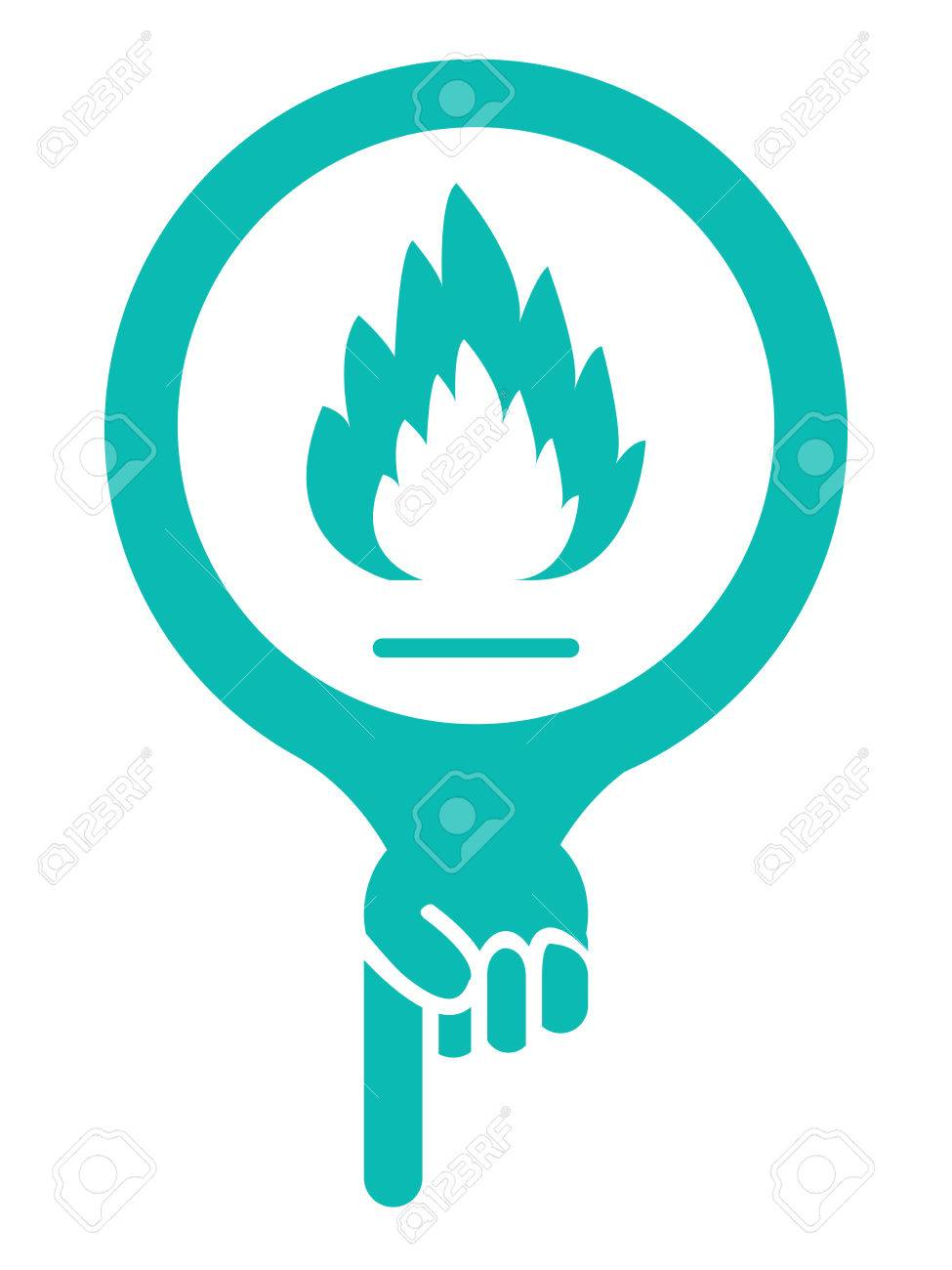 blue map pointer icon with fireplace or fire alarm sign isolated