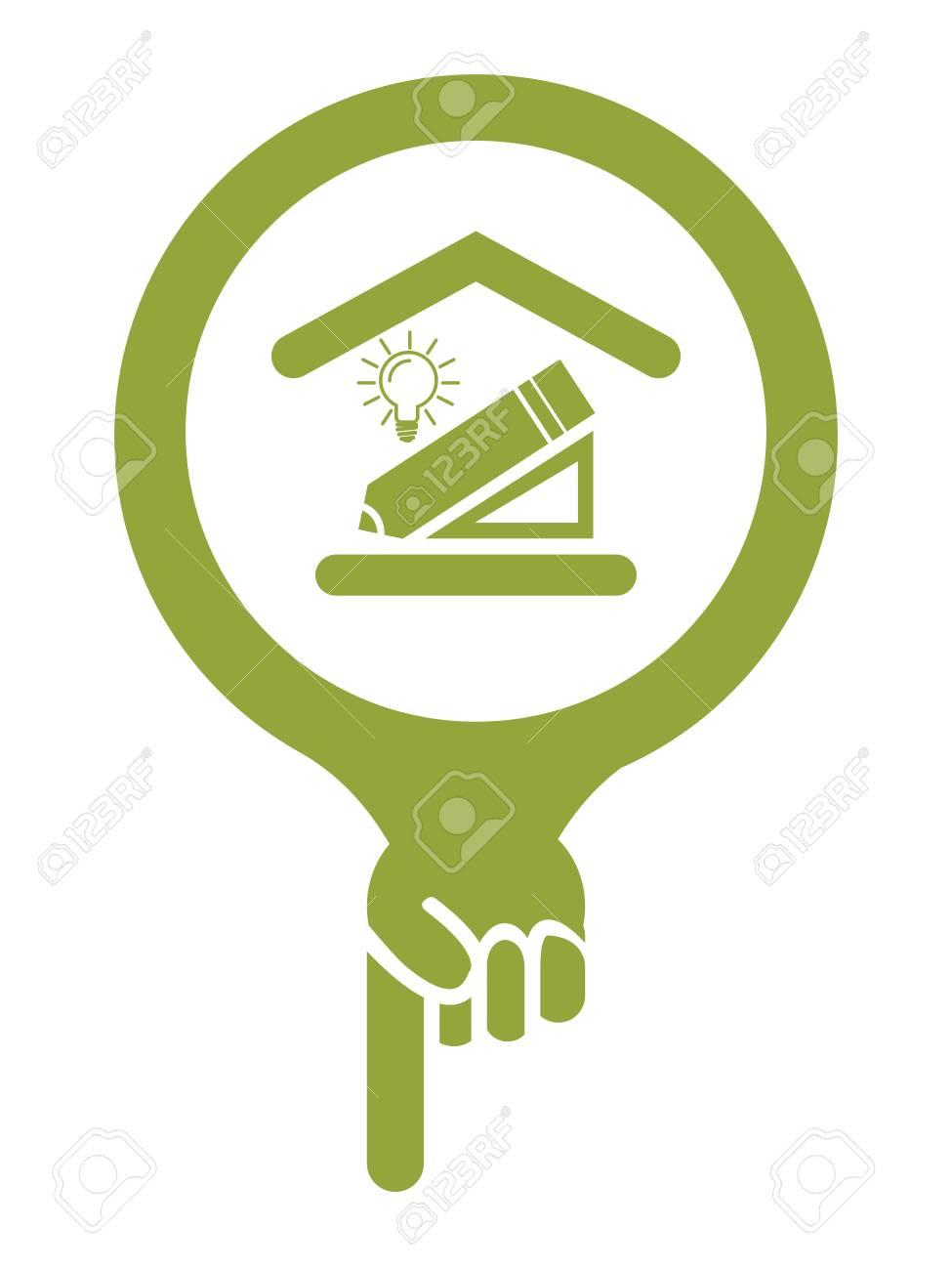 Grüne Karten-Zeiger-Ikone Mit Innenarchitektur-Service Oder Gebäude ...