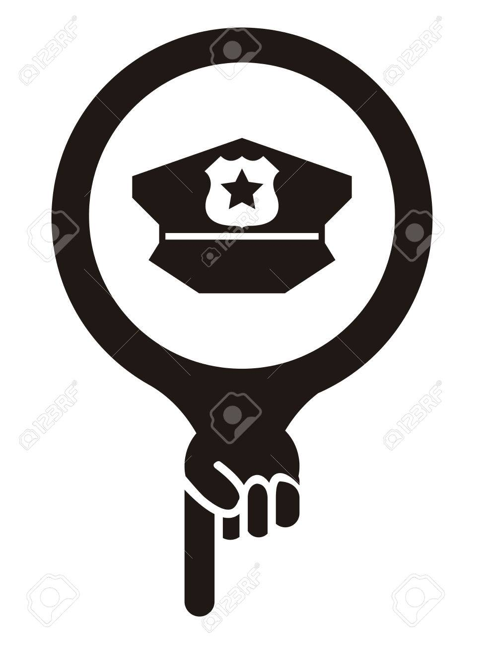 Black Map Pointer Icon With Police Station Sign Isolated On White