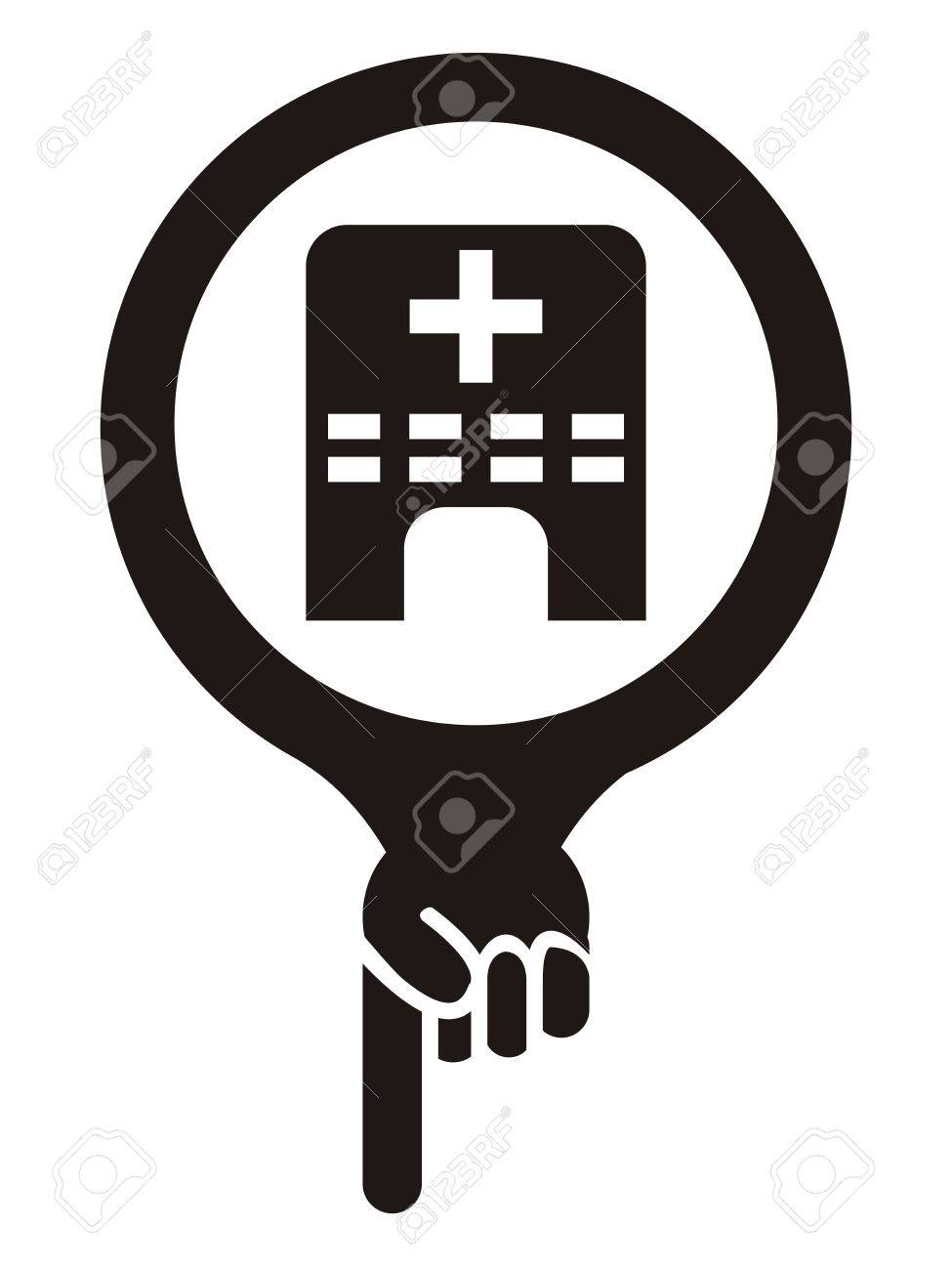 Black map pointer icon with clinic medical center or hospital black map pointer icon with clinic medical center or hospital sign isolated on white background biocorpaavc