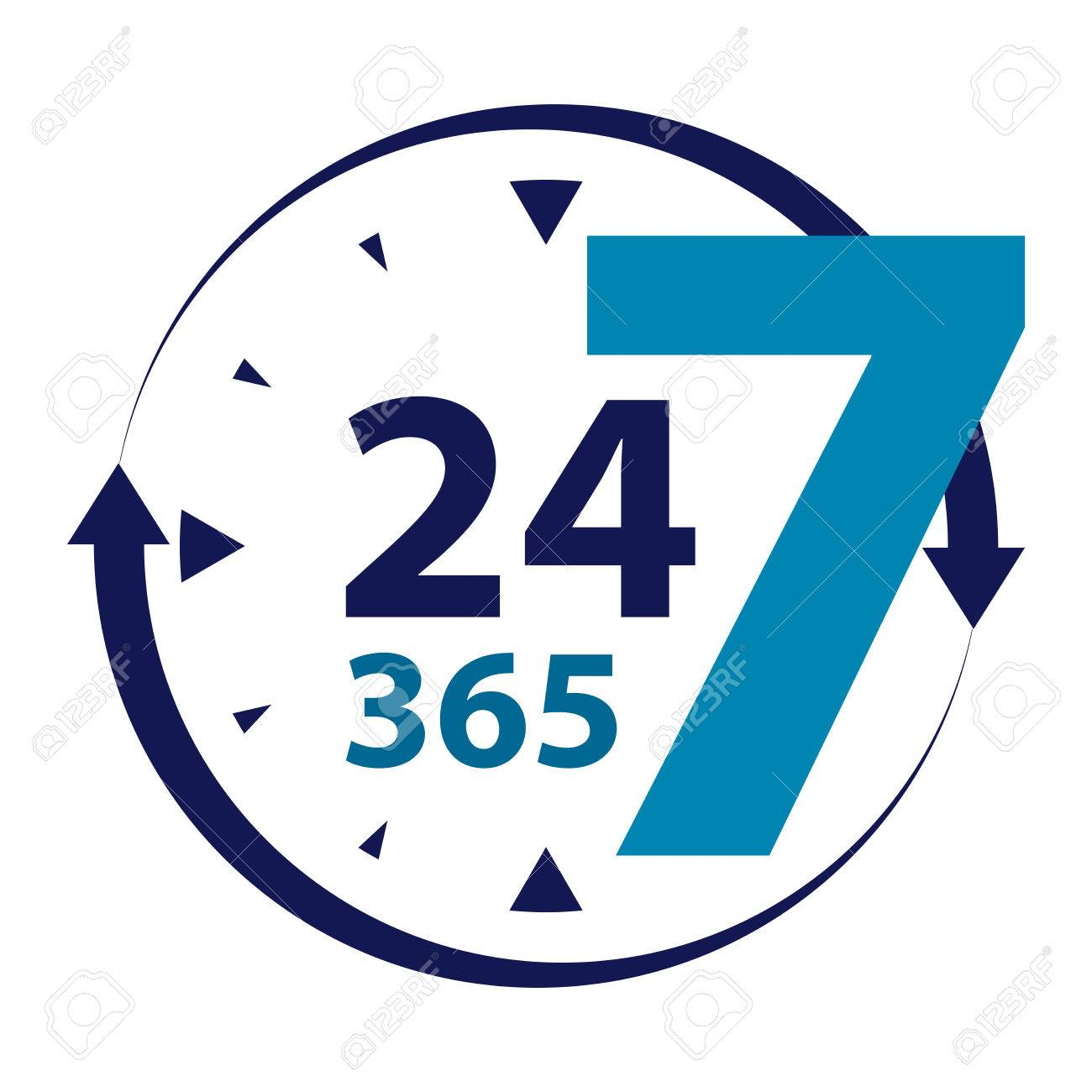 blue 24 7 365 with clock and arrow sign icon or label isolated