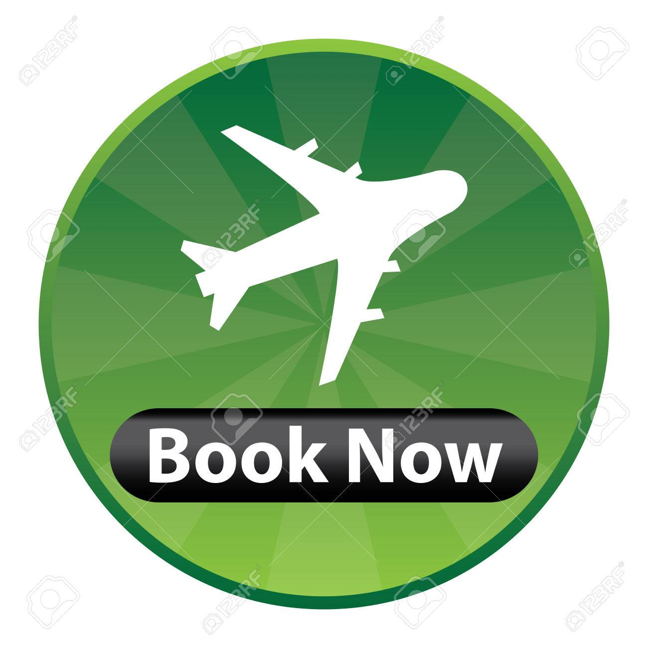 Green Circle Shiny Style Flight Booking Icon Sticker Or Label Isolated On White Background Stock
