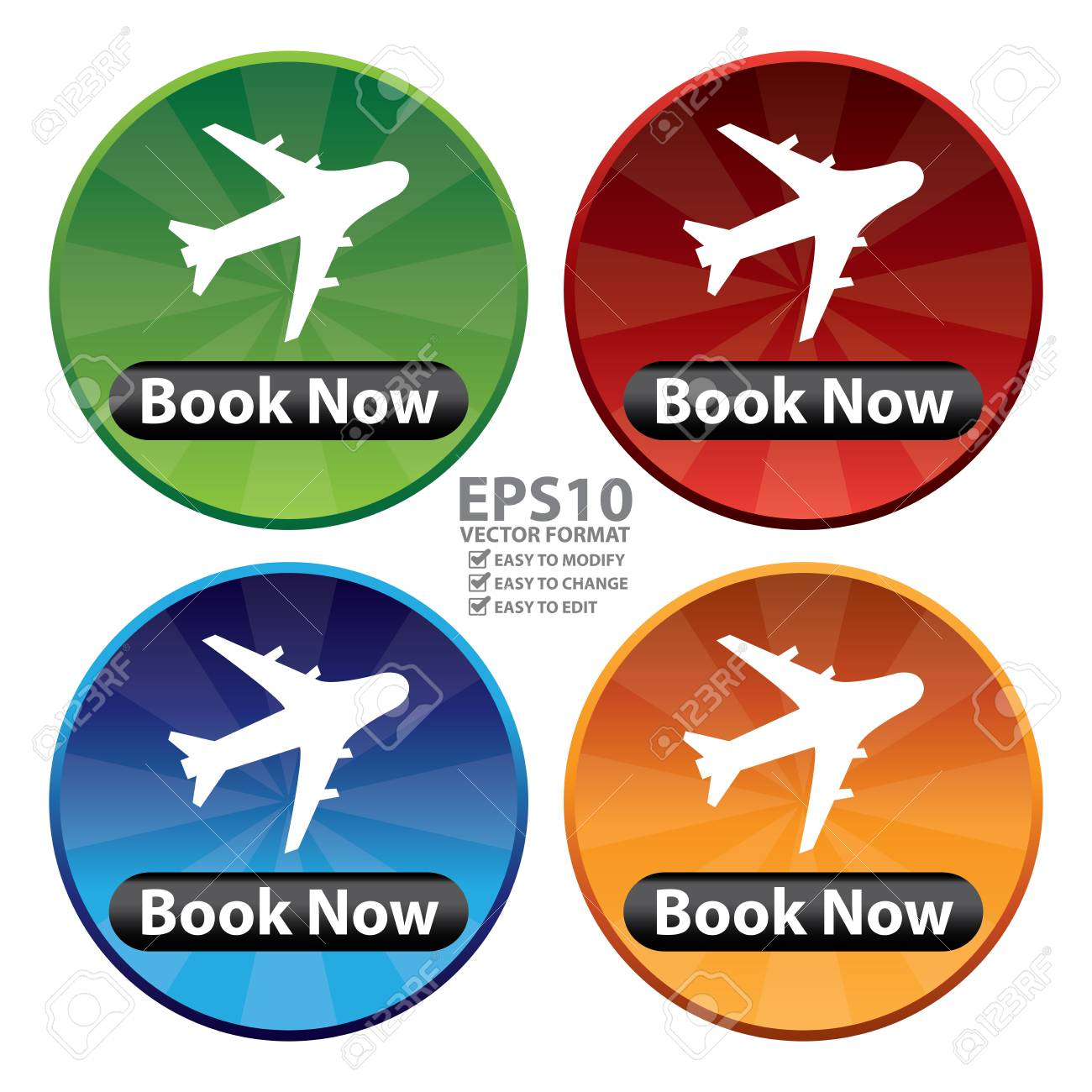 Vector Colorful Circle Shiny Style Flight Booking Icon Sticker