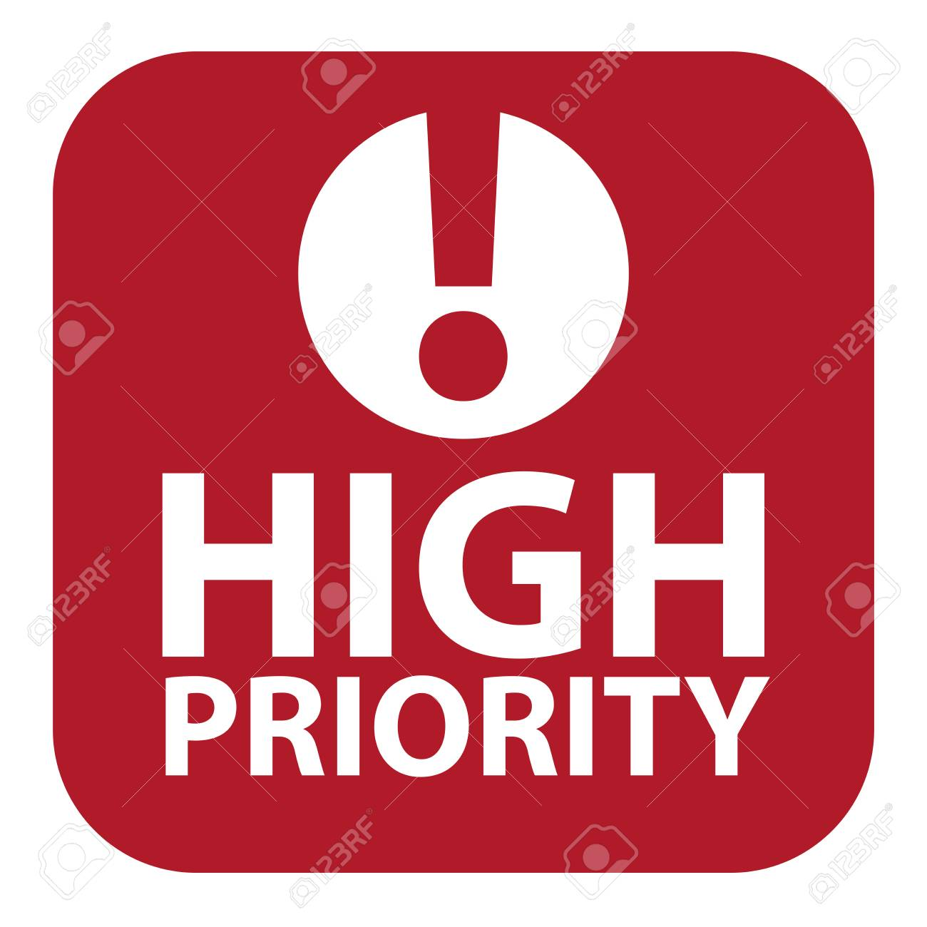 Red Square High Priority Icon, Sign, Sticker or Label Isolated