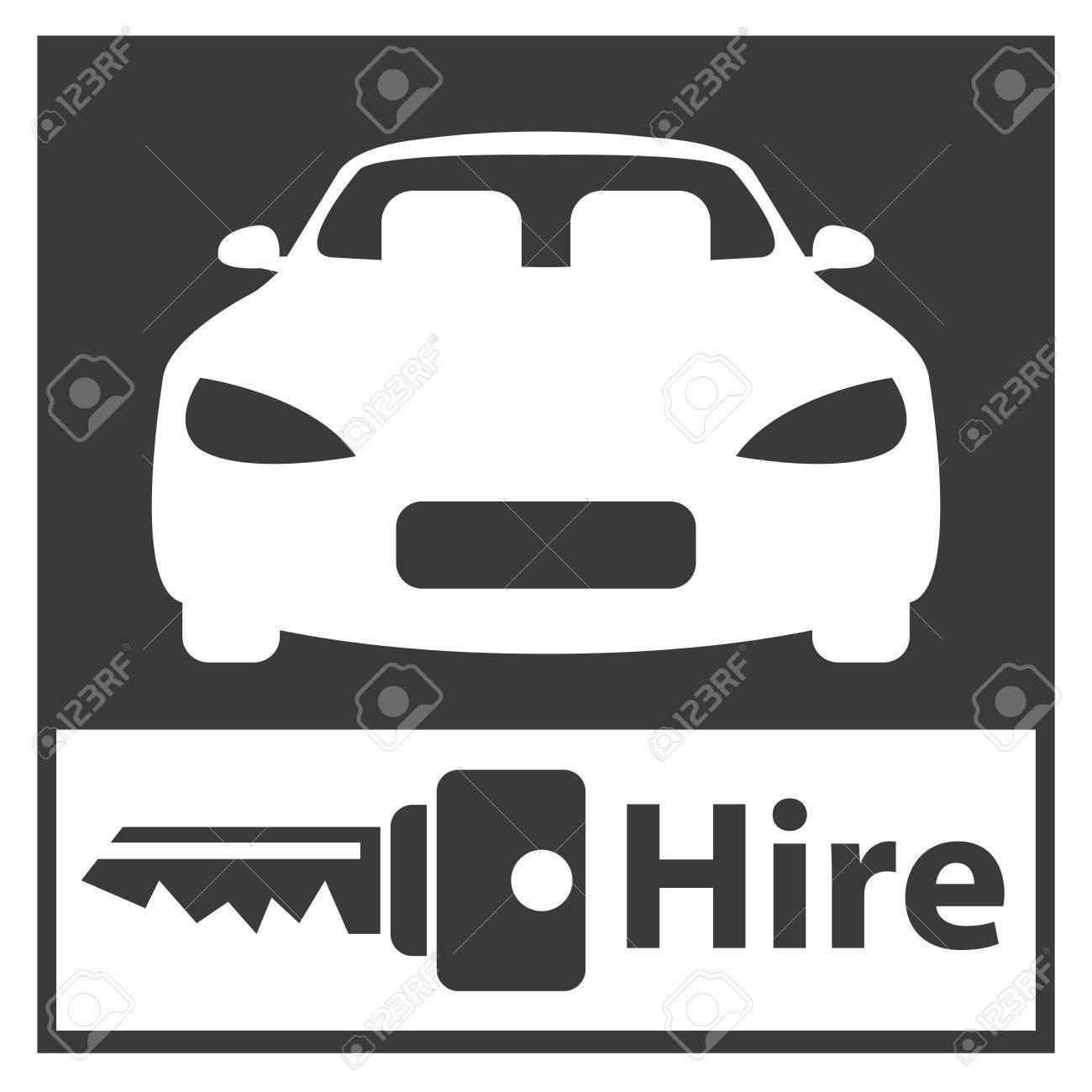 Black Square Car Hire Or Car Rental Service Icon Sticker Or Stock