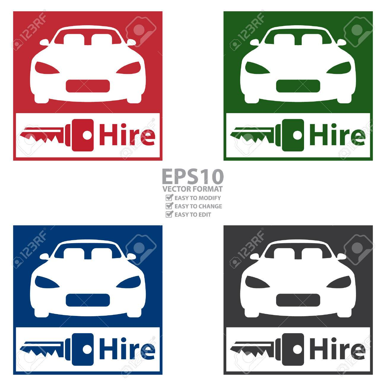 Vector Square Car Rental Service Icon Sticker Or Label Isolated