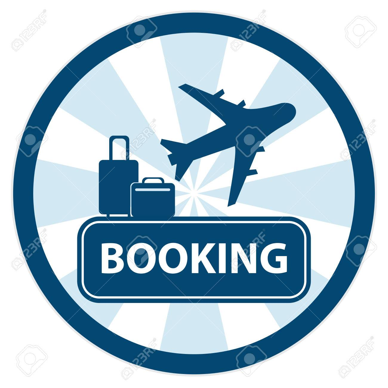 Blue Circle Vintage Style Flight Booking Sign Icon Sticker Or Label Isolated On White