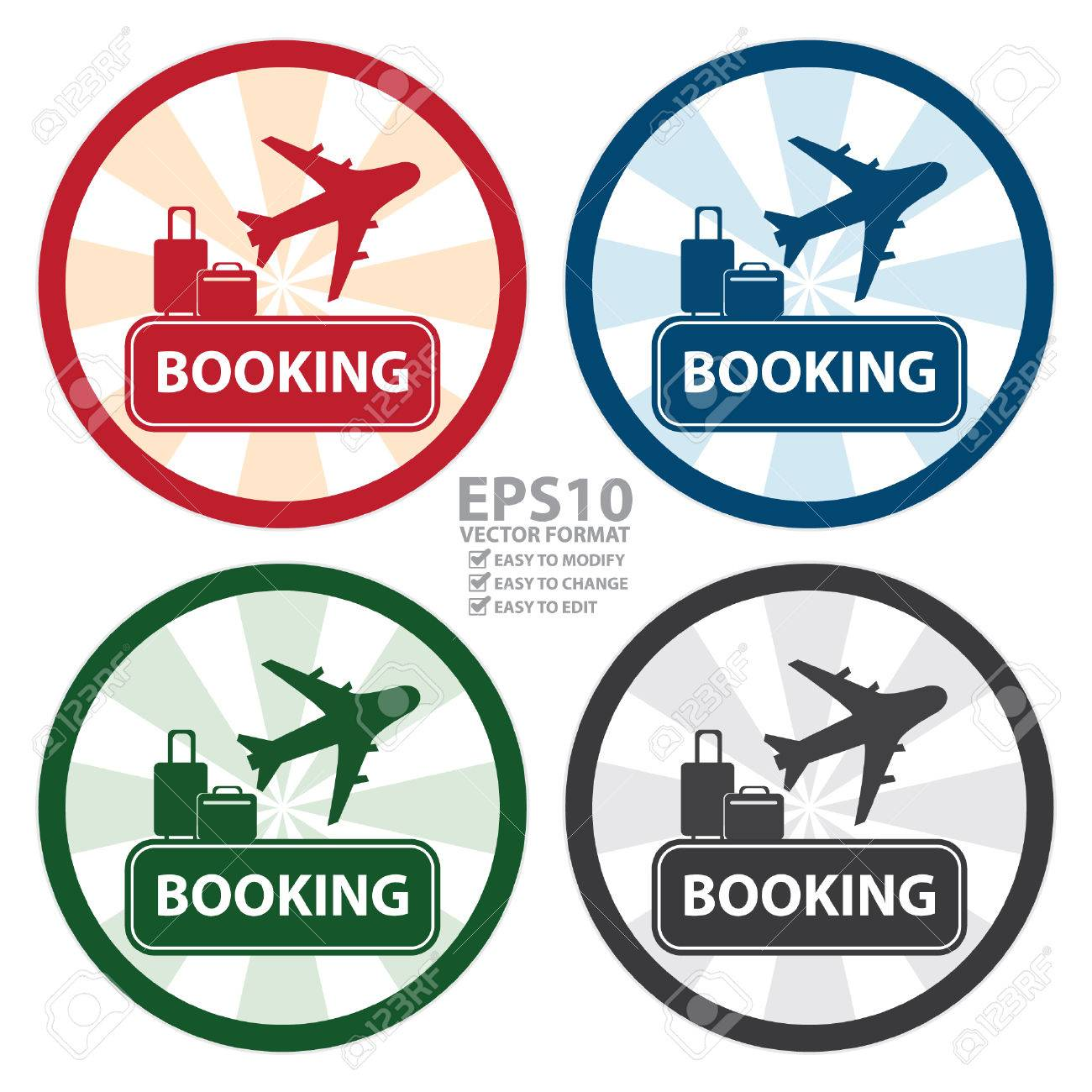 Vector Circle Vintage Style Flight Booking Sign Icon Sticker