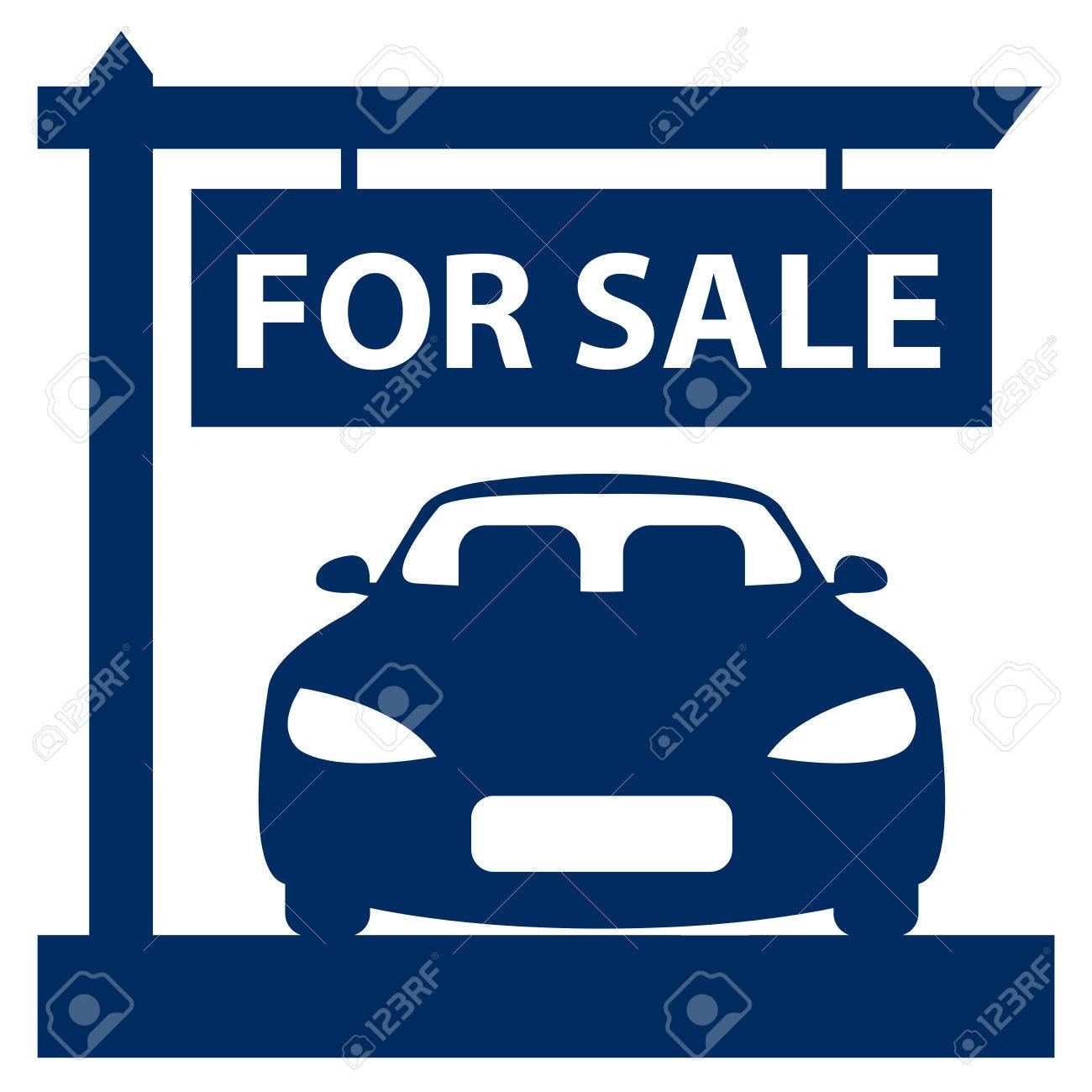 Blue Car Showroom With Car For Sale Sign Icon Sticker Or Label – Free for Sale Signs for Cars