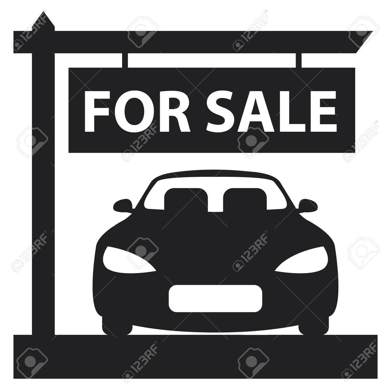 Black Car Showroom With Car For Sale Sign Icon Sticker Or Label