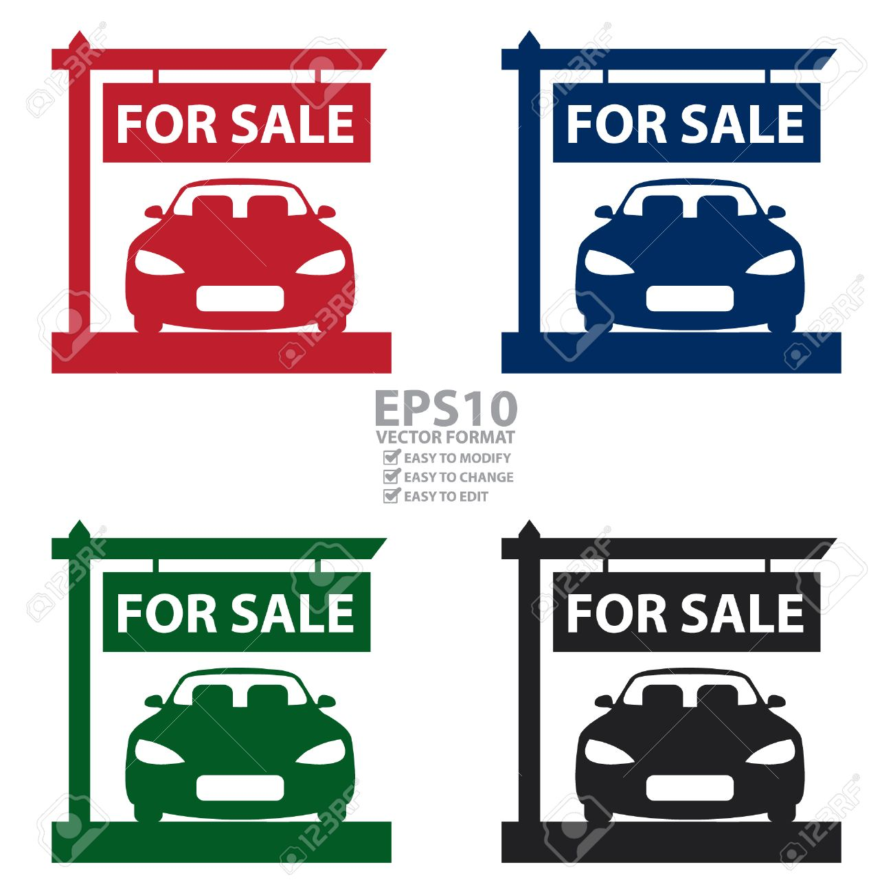 Vector Car Showroom With Car For Sale Sign Icon Sticker Or – Free for Sale Signs for Cars