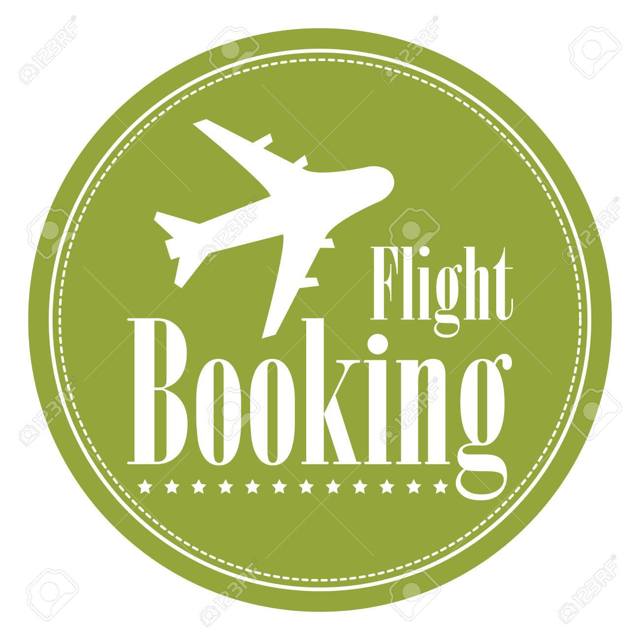Green Circle Vintage Style Flight Booking Icon Label Button Or Sticker Isolated On White