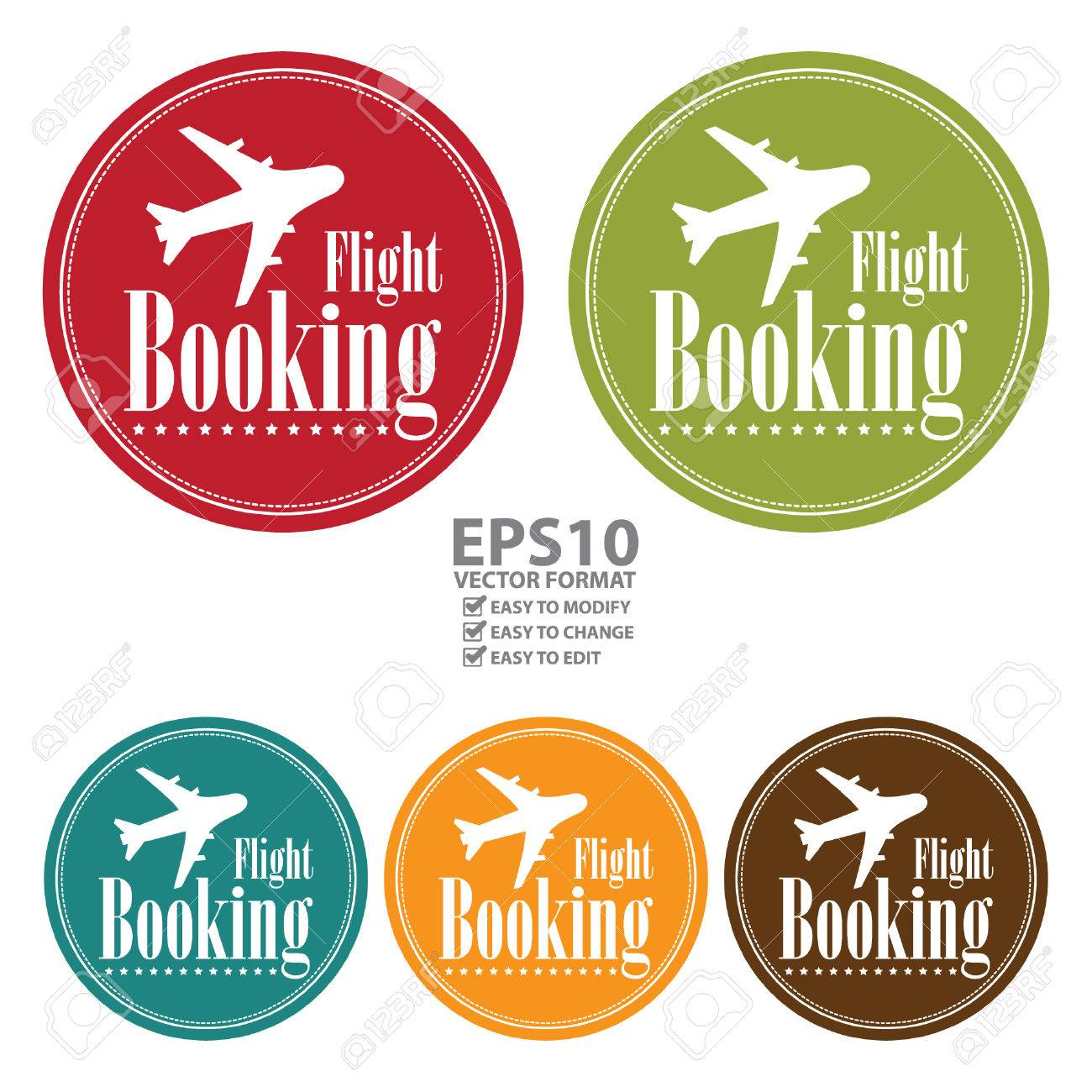 Vector Circle Vintage Style Flight Booking Icon Label Button