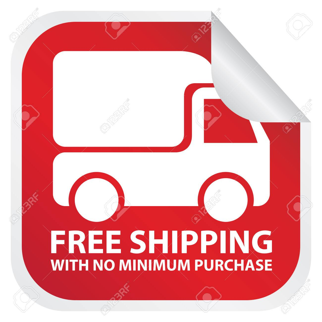 Red Free Shipping With No Minimum Purchase Sticker Banner Icon