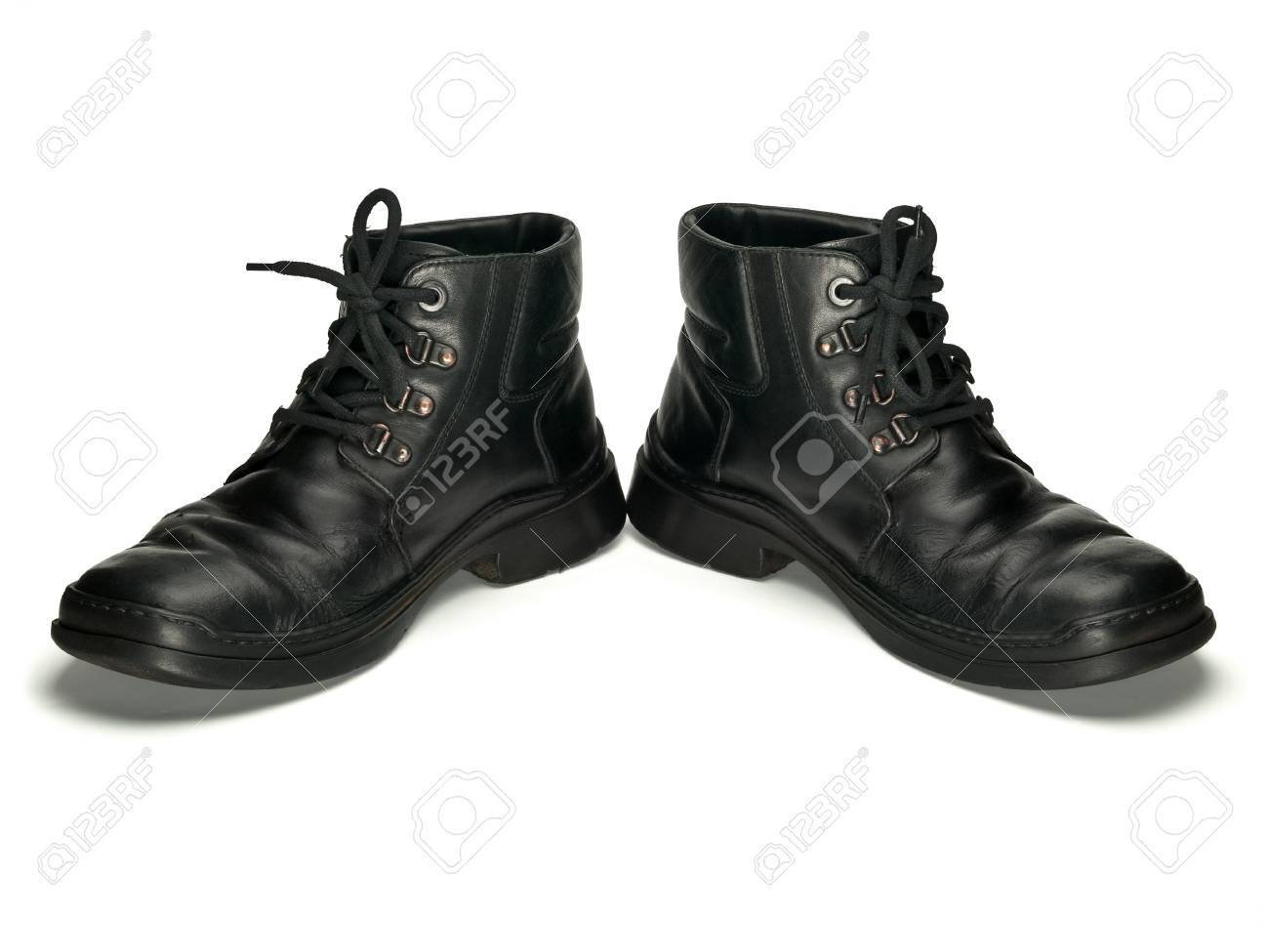 Old Leather Boots Of Black Colour Are