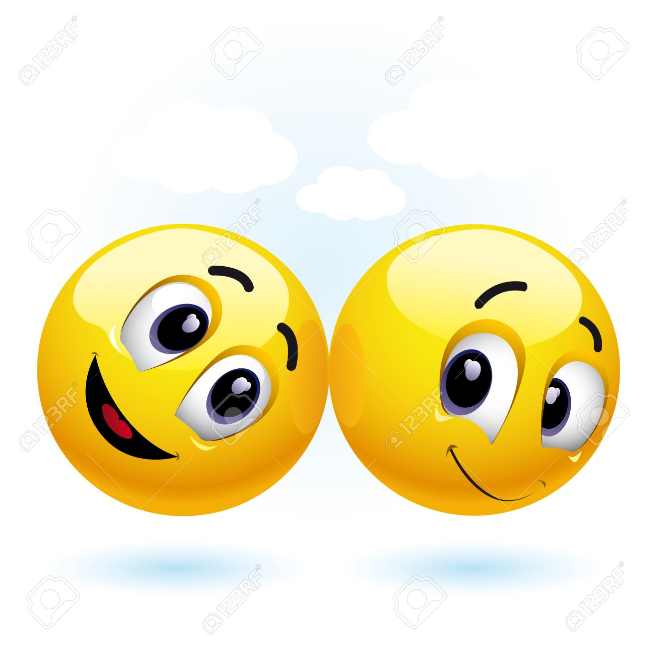 two smiling balls having fun and enjoying each others company Stock Vector - 4502306