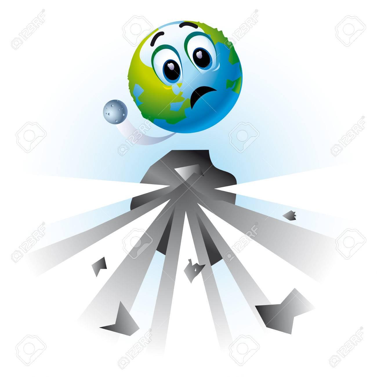 Smiling ball as Earth in danger Stock Vector - 4836638