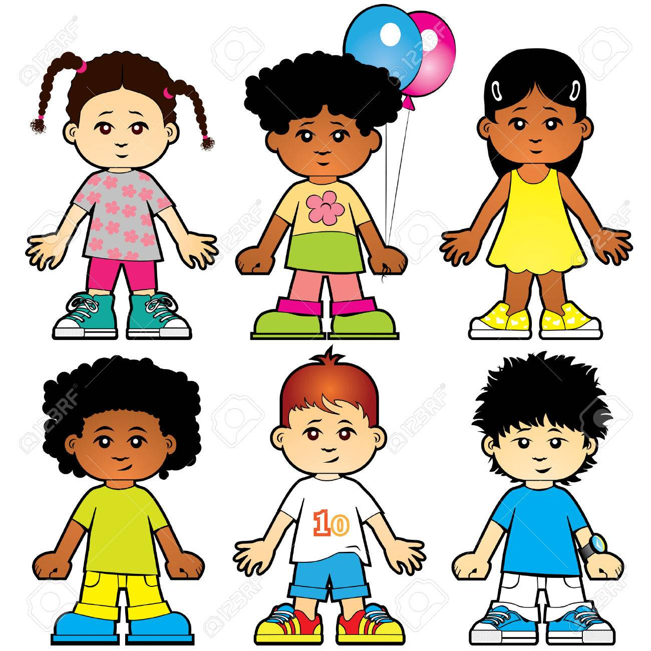 Six cute girls and boys characters Stock Vector - 5416093
