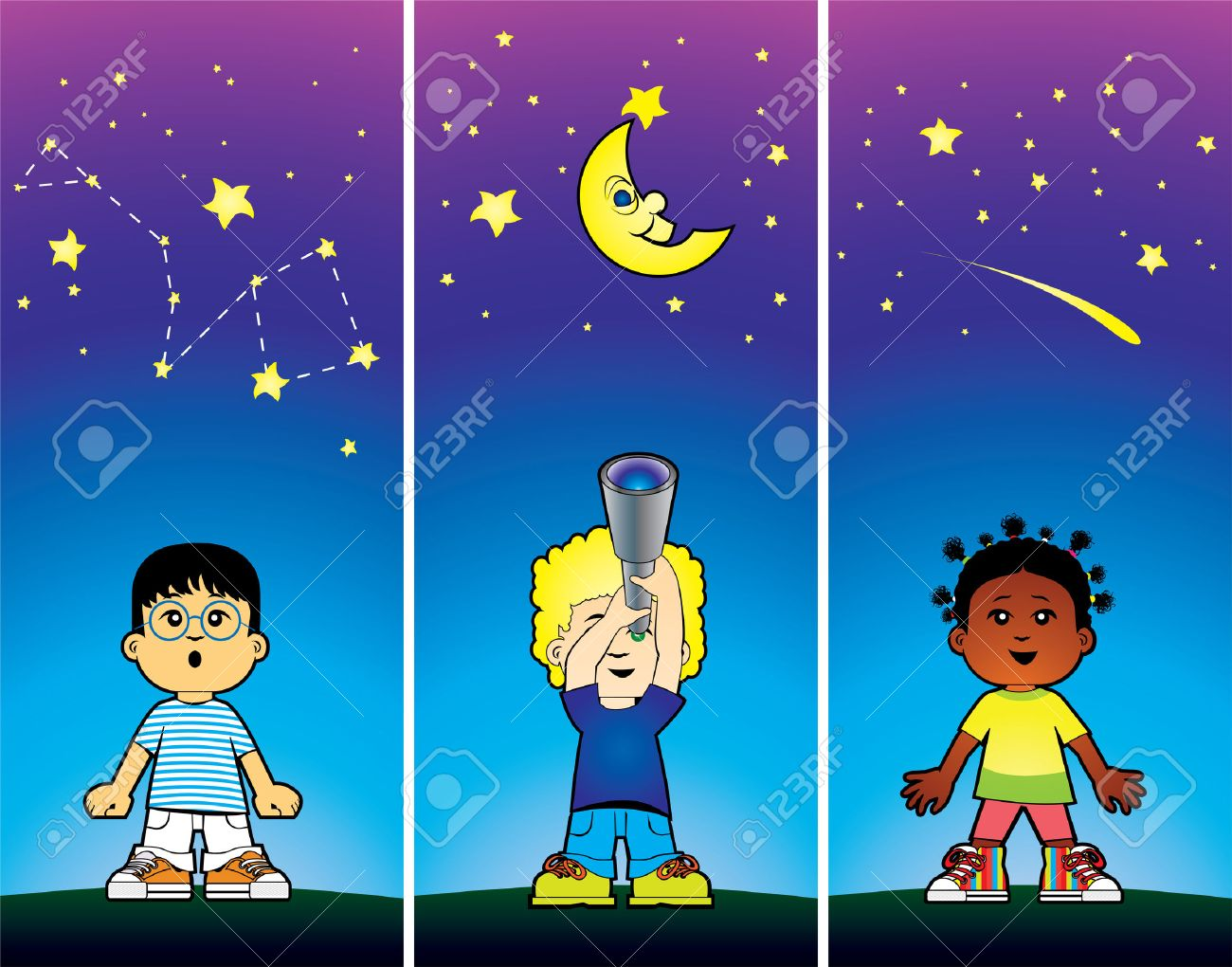 Children looking at the stars Stock Vector - 5483733
