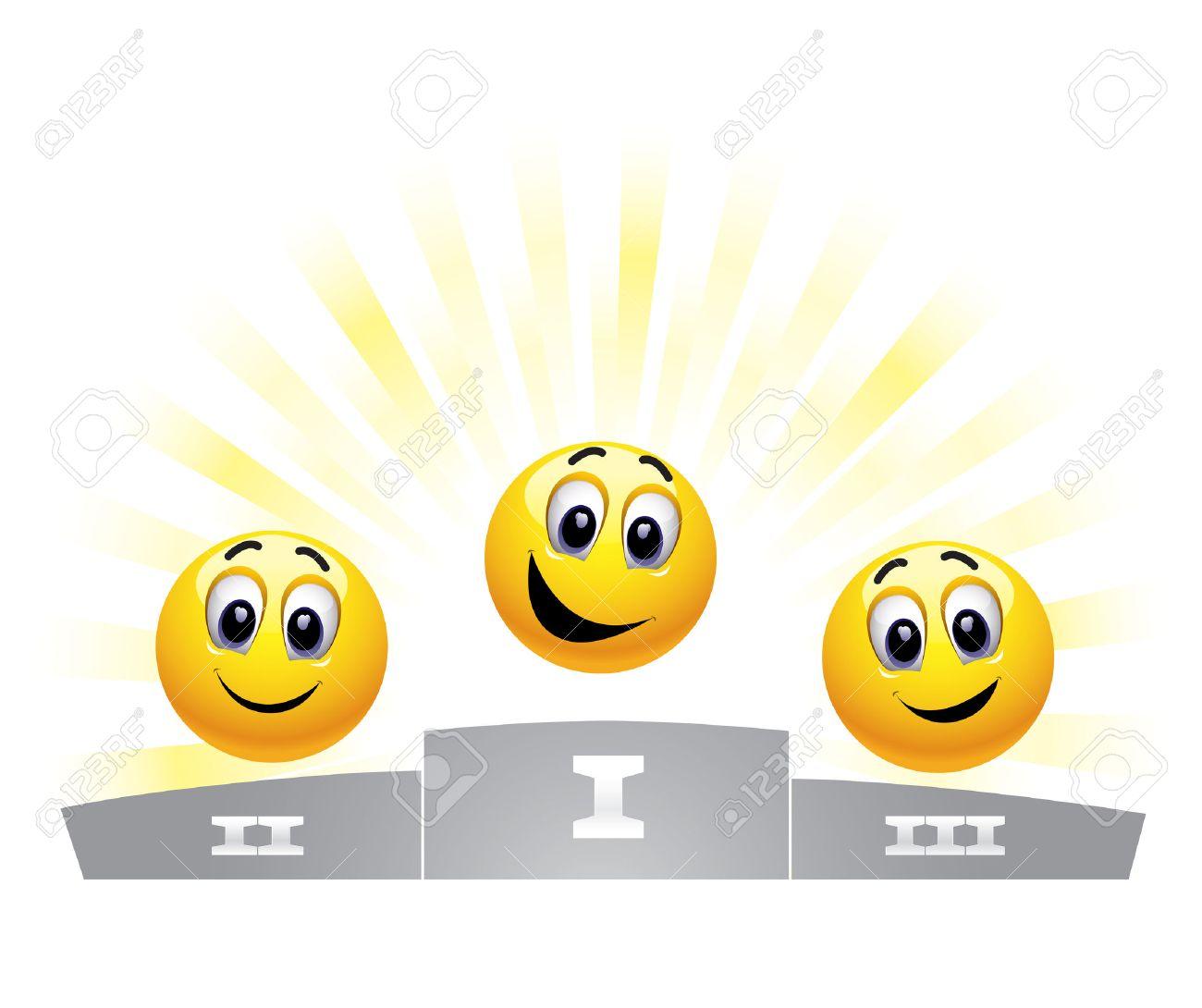 Three smiley balls in the winners podium Stock Vector - 5781480