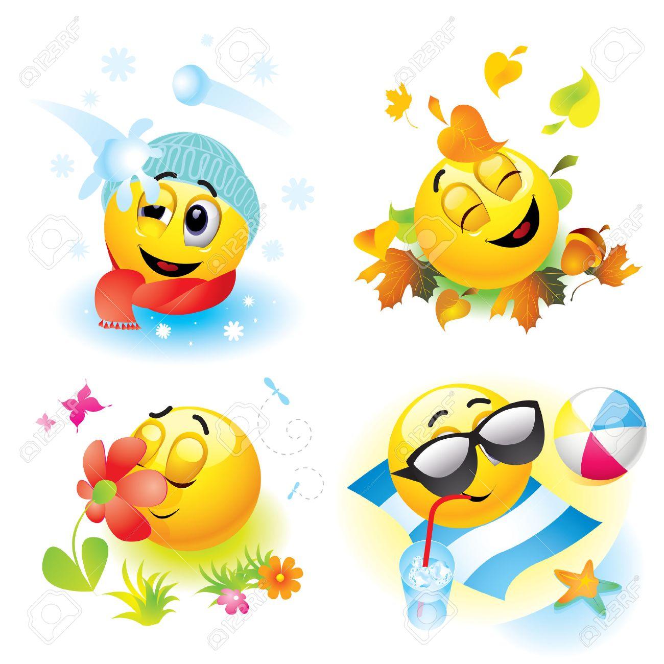 Smiley balls in different season Stock Vector - 5999976