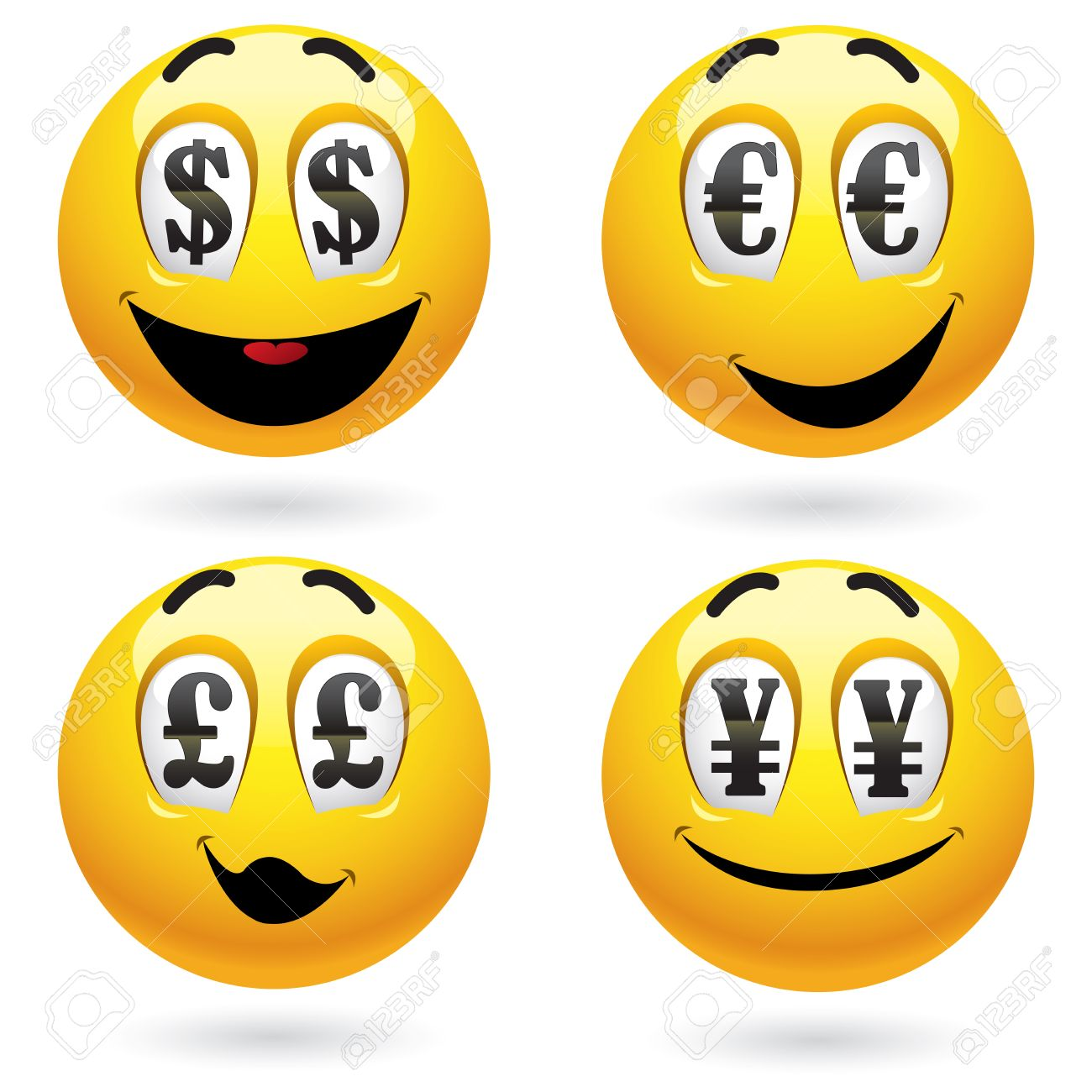 Smiley balls looking at money Stock Vector - 6004466