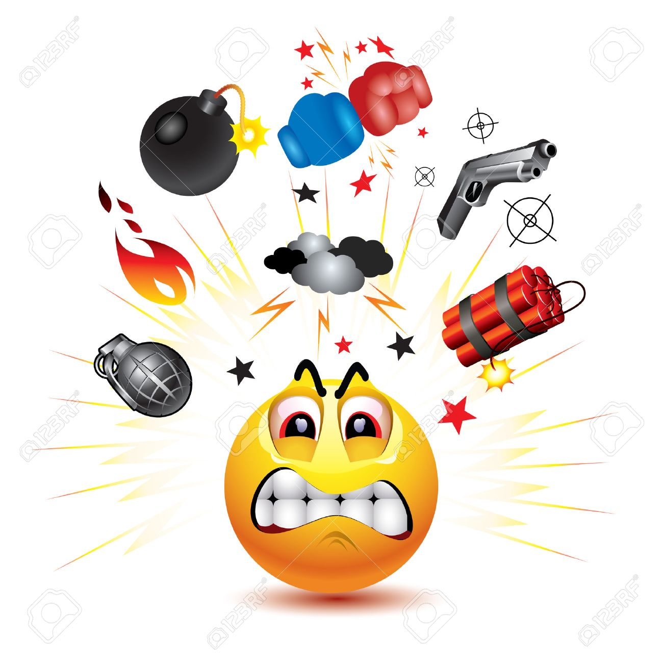 Smiley Ball With Symbols Of Fight And Anger Royalty Free Cliparts