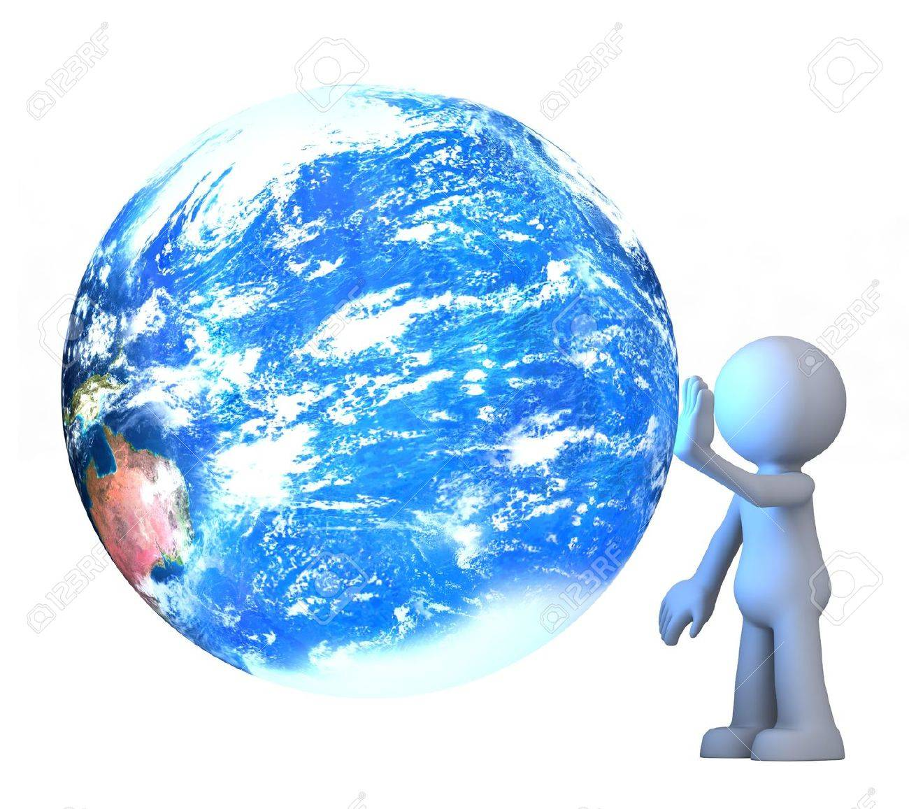 3D human character touching planet earth isolated on white Stock Photo - 13475057