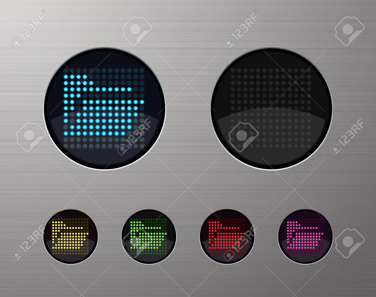SHINY METALLIC WEB COMPUTER AND INTERNET BUTTONS Stock Vector - 15940972