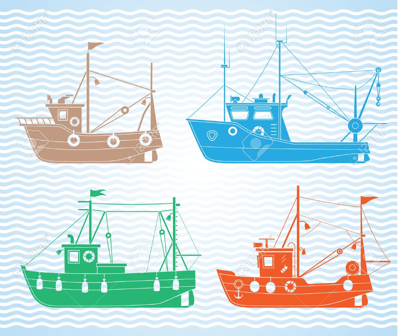 set of different types of fishing boats royalty free cliparts
