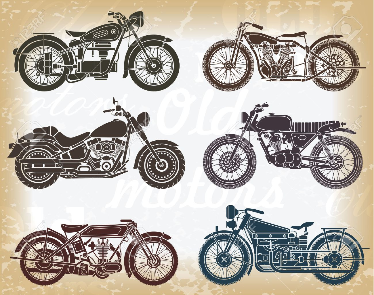 Vector Set Of Old Classic Motorcycle Royalty Free Cliparts, Vectors ...