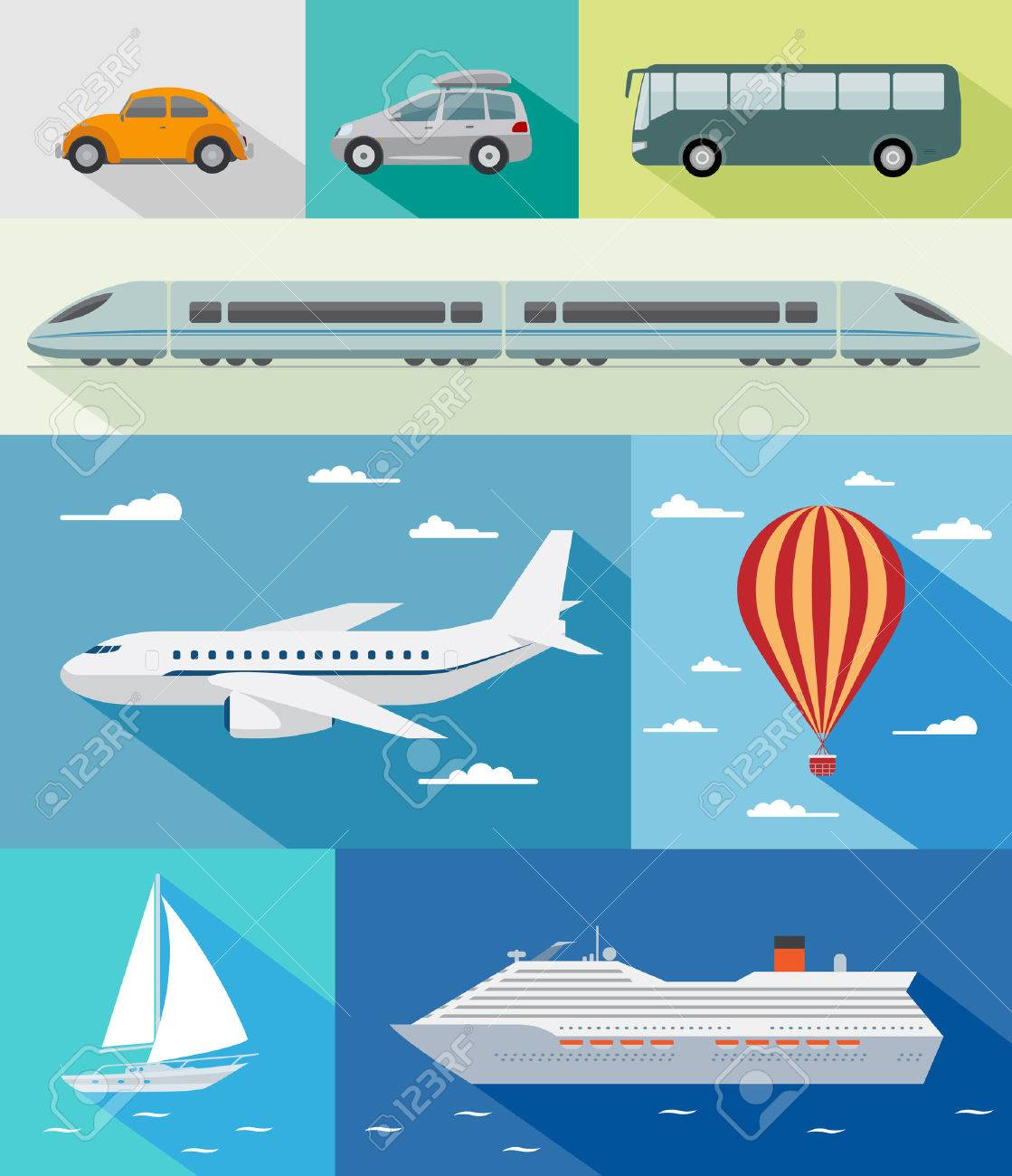 Various types of transport  car, bus, train, airoplane, air baloon, sailing boat, ship with long shadow effect Stock Vector - 29498243