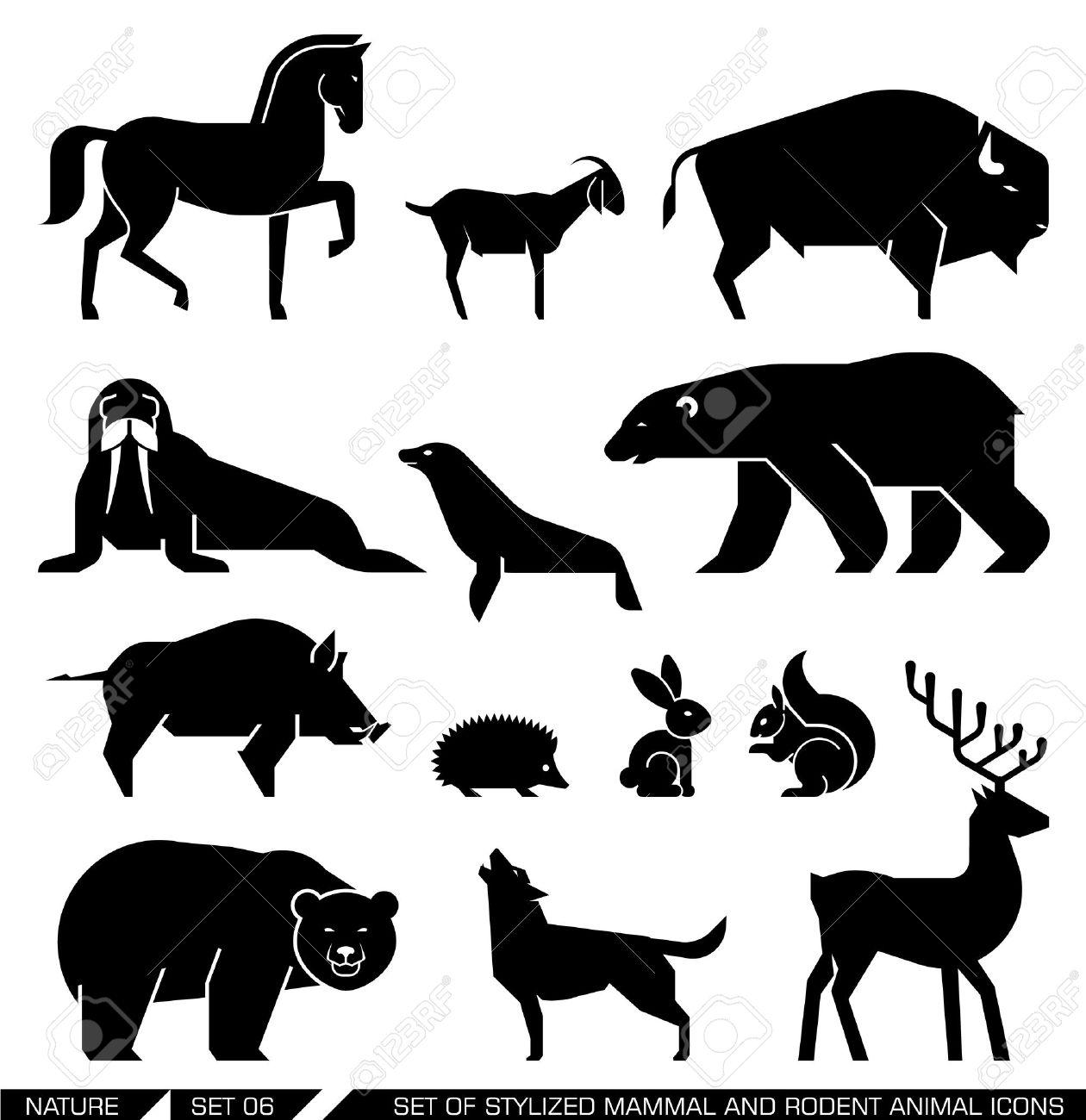 哺乳類の齧歯動物セット: 馬、ヤギ、バイソン、シール、セイウチ