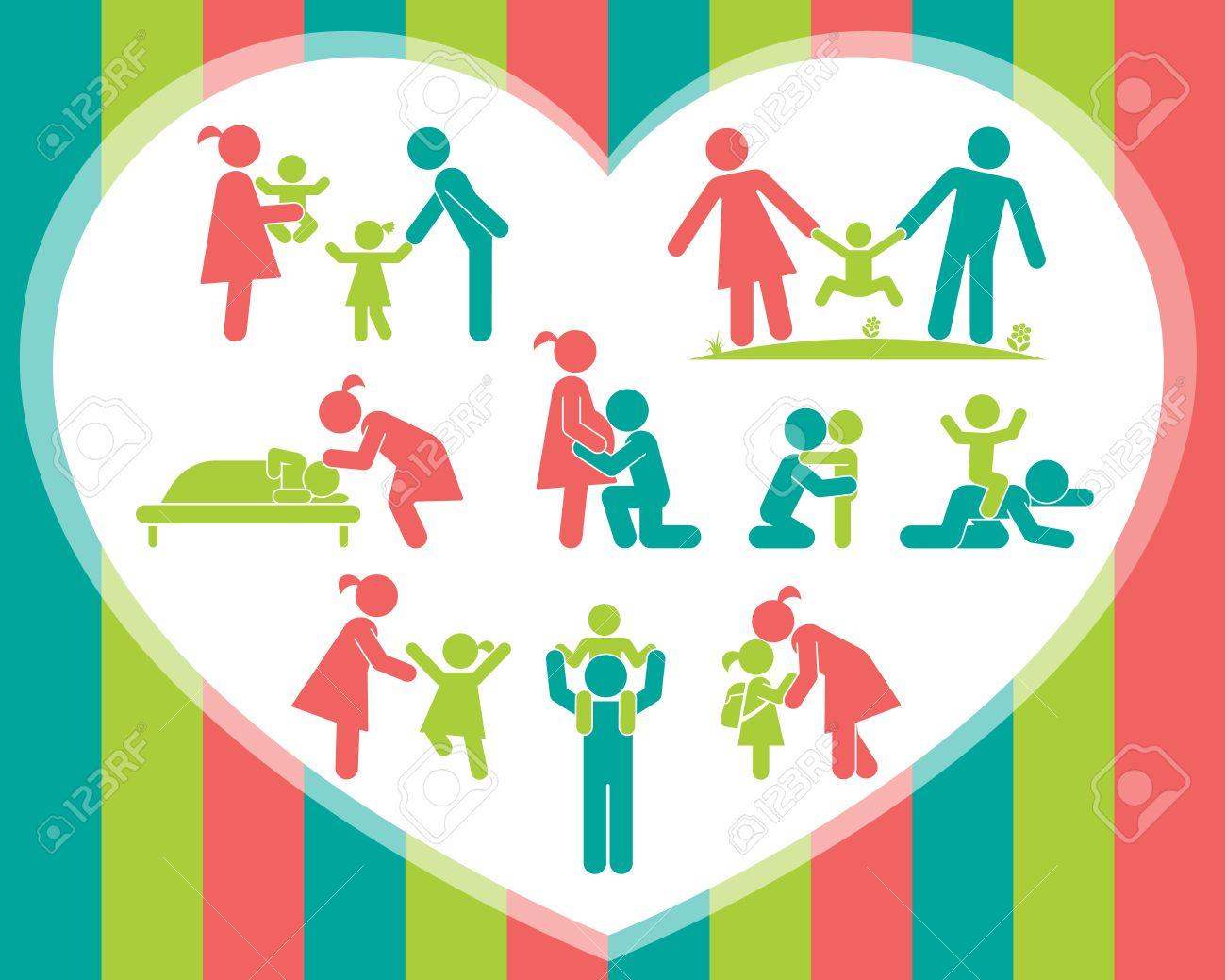 Extrem Les Enfants Et Leurs Parents. Pictogrammes Présentant L'amour  HY67