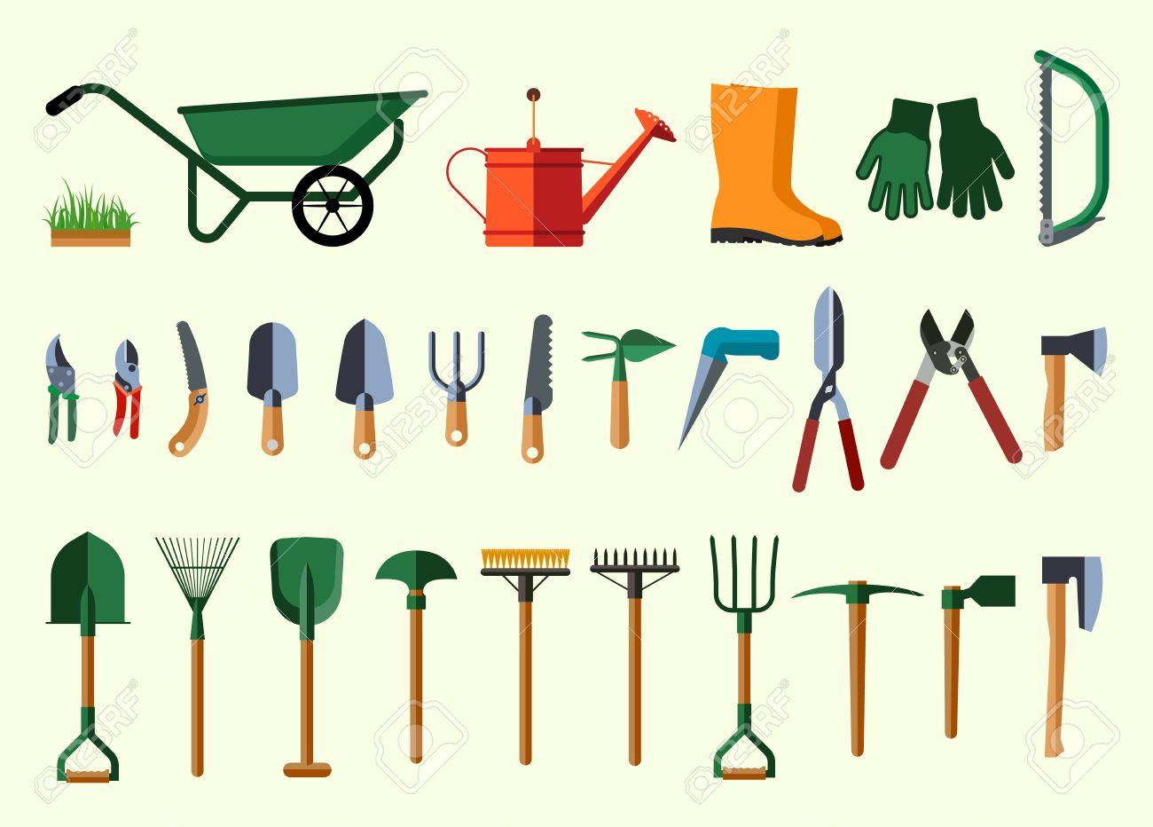 Garden Tools. Flat Design Illustration Of Items For Gardening ...