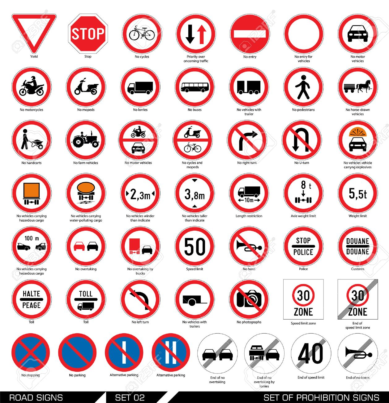 Road signs stock photos royalty free business images collection of mandatory and prohibition traffic signs vector illustration illustration biocorpaavc