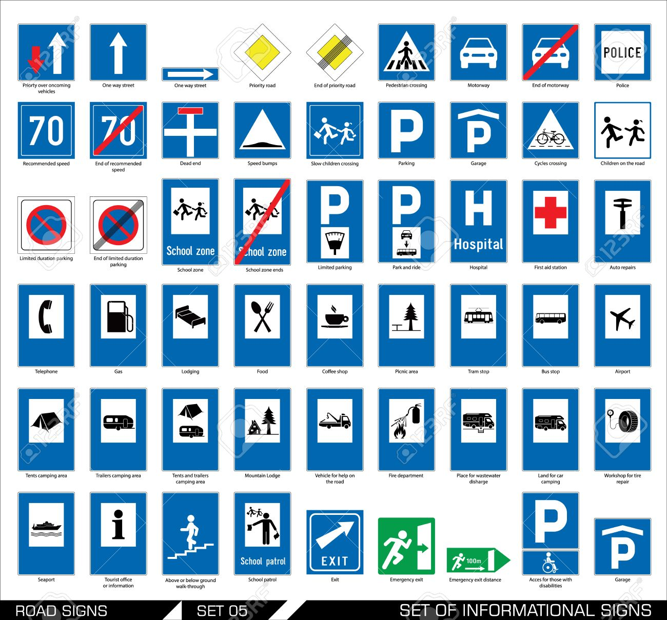 collection of informational traffic signs vector illustration collection of informational traffic signs vector illustration stock vector 41982594