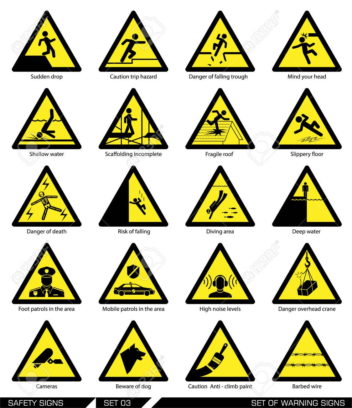 Collection of warning signs  Vector illustration  Signs of danger