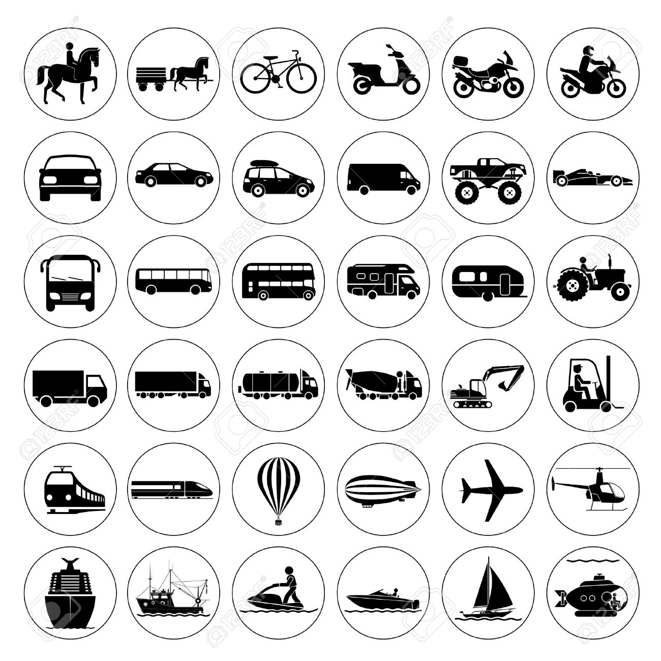 Collection of signs presenting different modes of transport on land, water and in the air. Vintage and modern means of transportation. Transportation icons. Stock Vector - 43945325