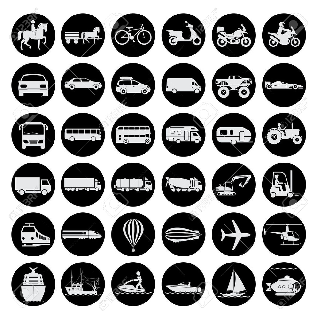 Collection of signs presenting different modes of transport on land, water and in the air. Vintage and modern means of transportation. Transportation icons. - 43945332