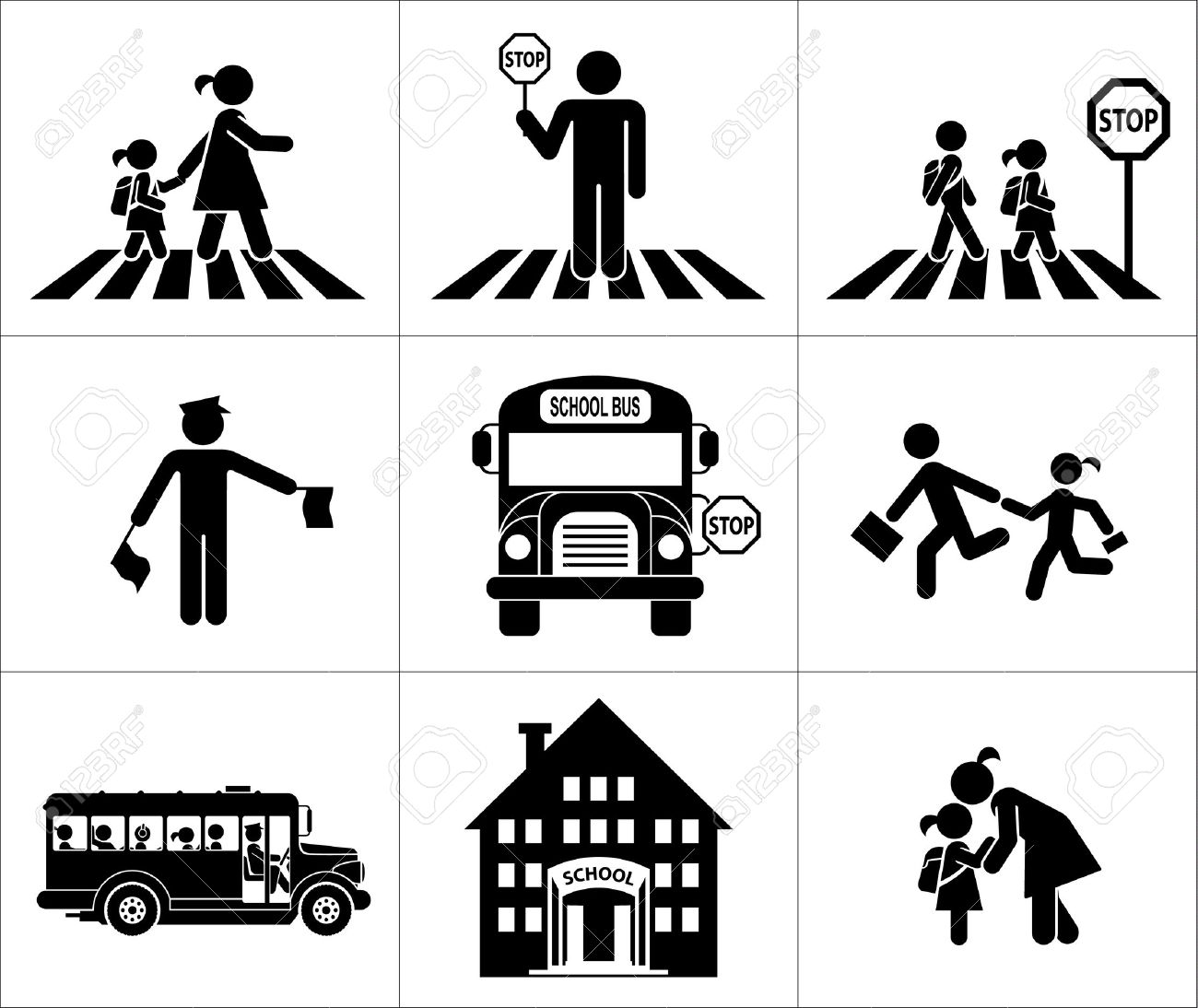 Children go to school  Pictogram icon set  Crossing the street