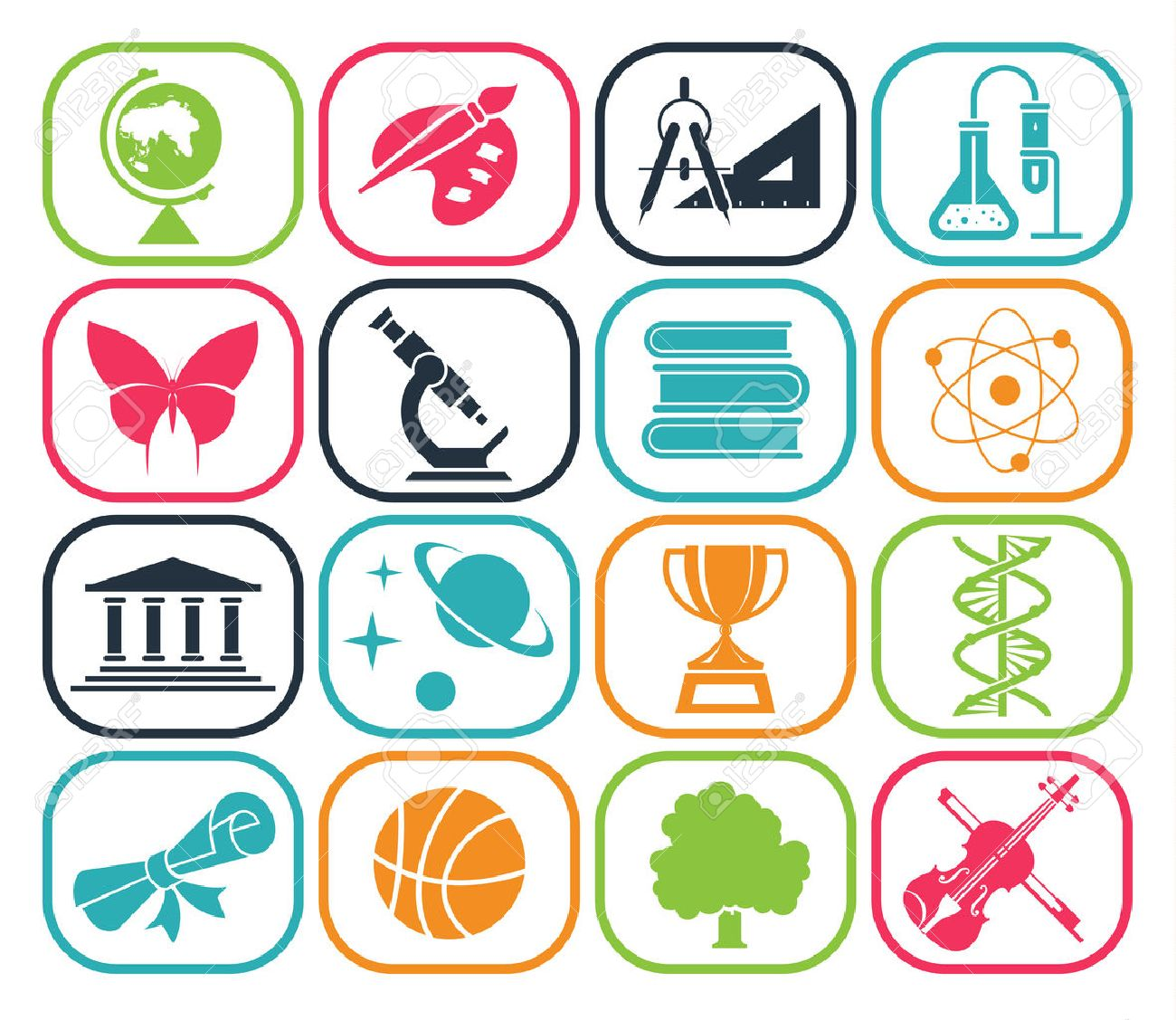 Collection of icons presenting different school subjects, science, art, history, geography, chemistry, maths, music, sports. Vector illustration. - 44249050