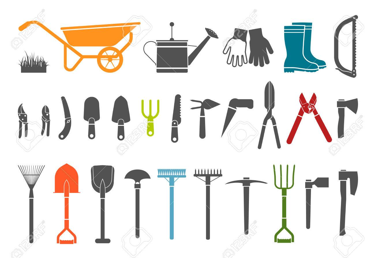 Merveilleux Gardening Tools. Pictogram Icon Set Of Items For Gardening. Stock Vector    44480975