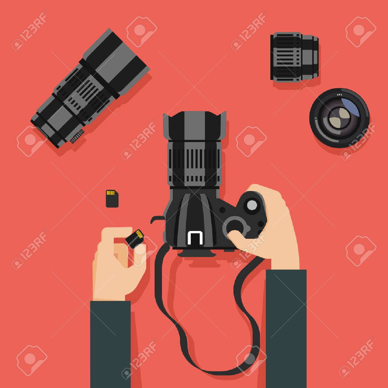 Flat design vector illustration of hands with camera and photography equipment - 47426220