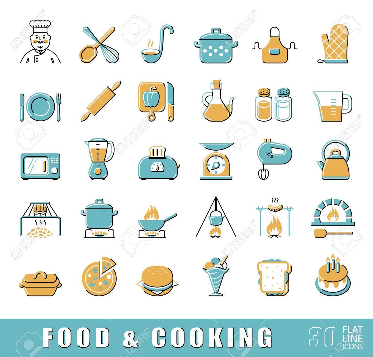 Vettoriale - Set Di Cibo Di Qualità E La Cucina Di Alta Qualità ...