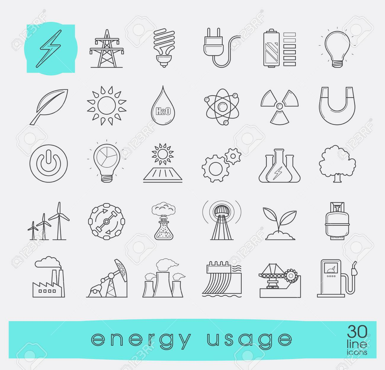 Set of line energy icons. Various energy sources. Various kinds of energies for use in industry and everyday life. Solar energy, bio alternative, fuel, electricity, nuclear, wind power, gas. Vector illustration. - 58584046