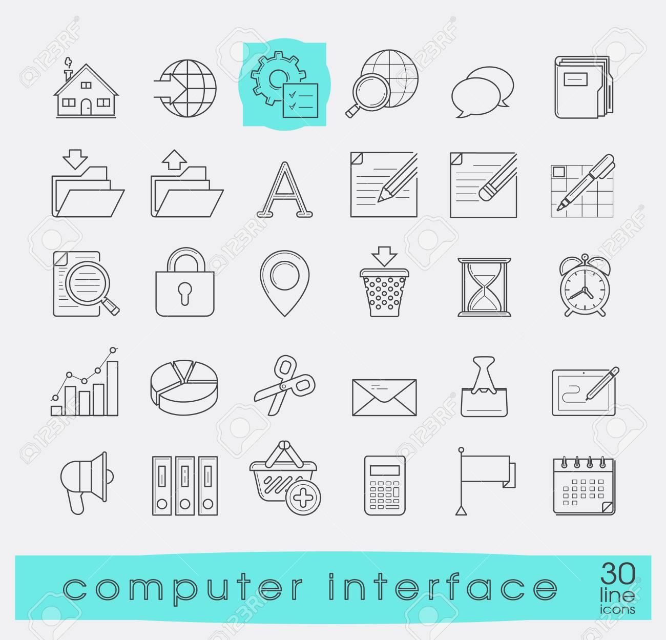 a6f74011f6044 Conjunto de iconos de interfaz de computadora. Iconos de línea para web y  tecnología de