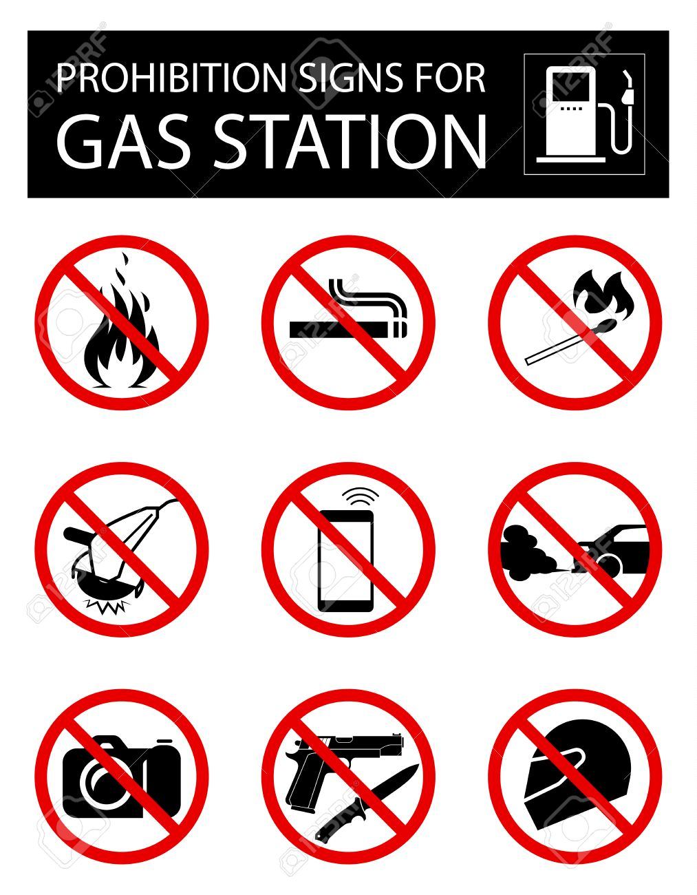 set of prohibition signs for gas station collection of signs that forbid certain objects or behavior