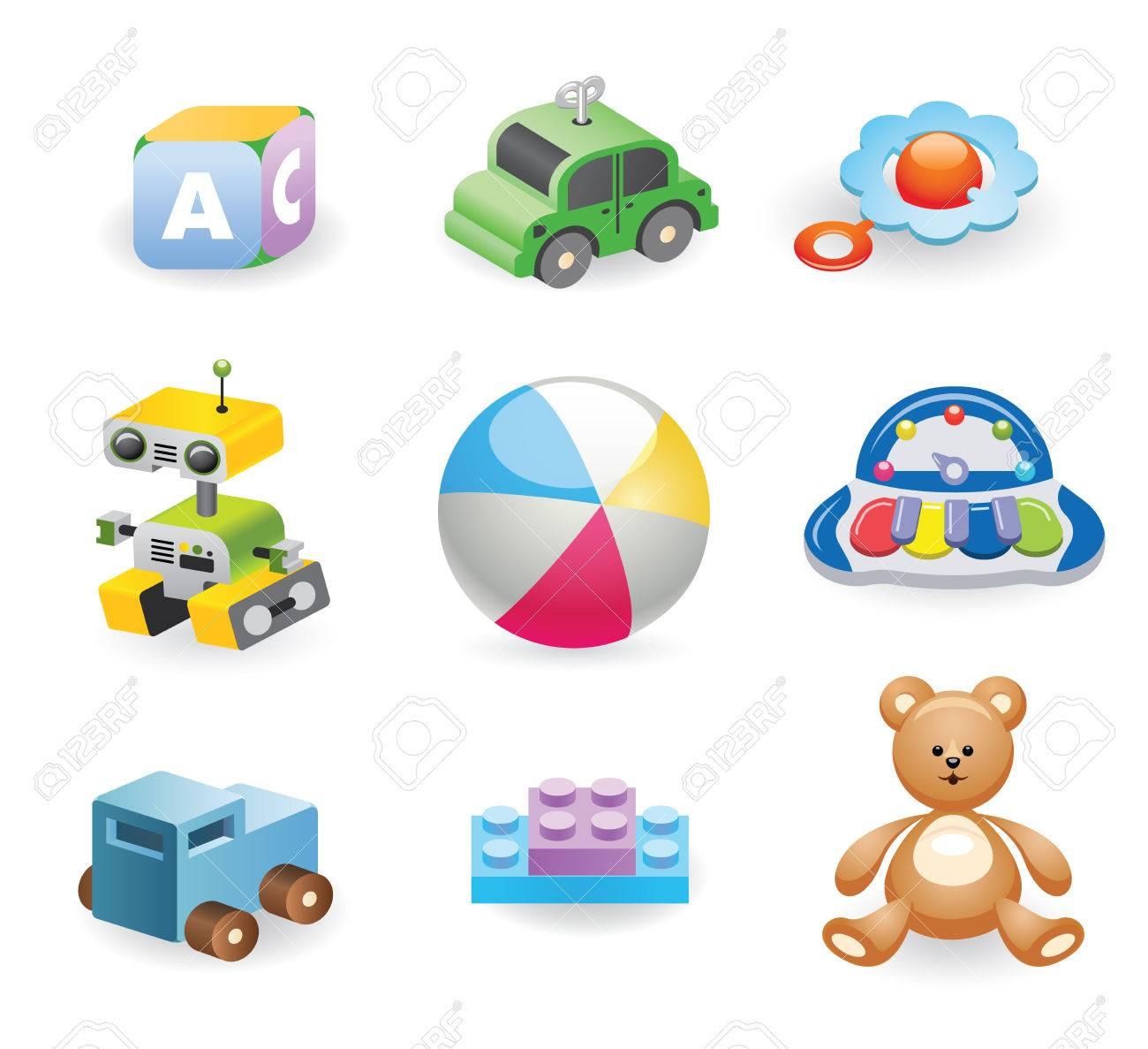 Foto de archivo - Una variedad de juguetes para niños. Conjunto de diversos  juguetes para los niños. Ilustración del vector. fd36e9d210c6